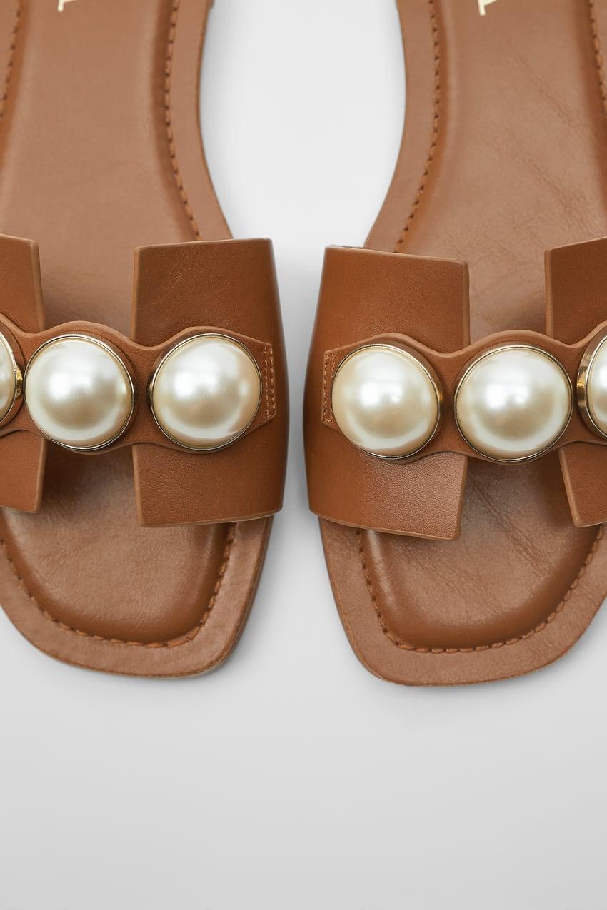 ZARA的图片 2 名称鑲珍珠真皮平底涼鞋