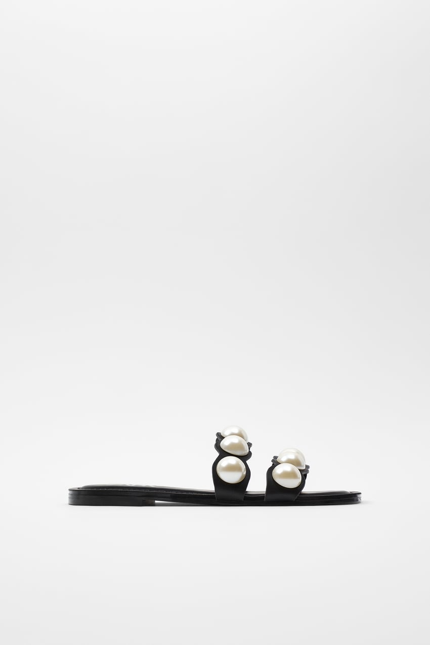 ZARA的图片 1 名称鑲珍珠真皮平底涼鞋