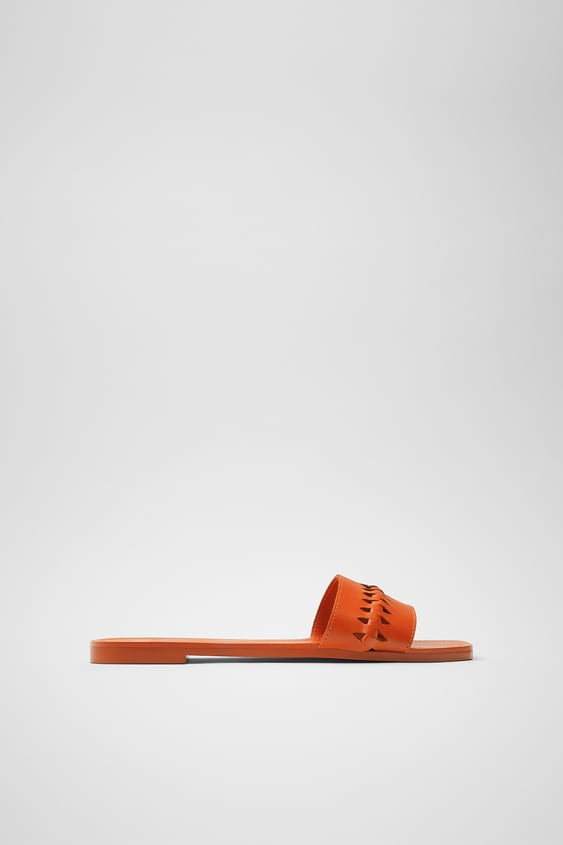 BRAIDED LEATHER FLAT SANDALS TRF