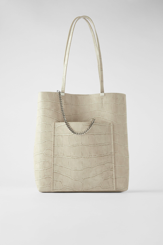 Animal Print Tote Bag With Chain Zara