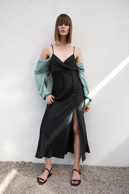 L XL Zara NWT Satin Slip Dress Midi Lingerie Style Lace Embroidery White S M