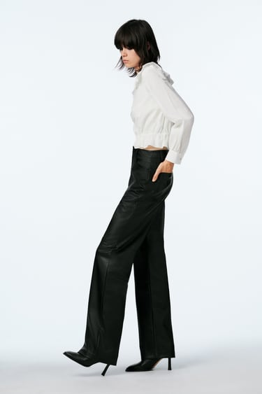 Image 3 of FAUX LEATHER TROUSERS from Zara