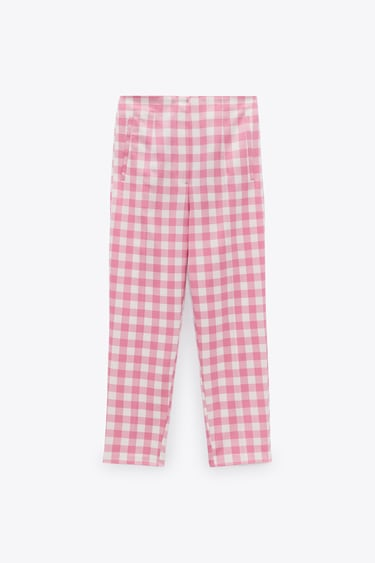 Image 2 of HIGH-WAIST GINGHAM CHECK TROUSERS from Zara