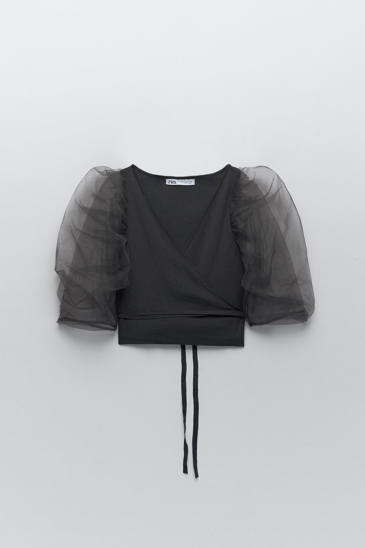 Details about  /Zara Women Textured Weave Top Voluminous Black Ref 2142//114 Sz S NWT