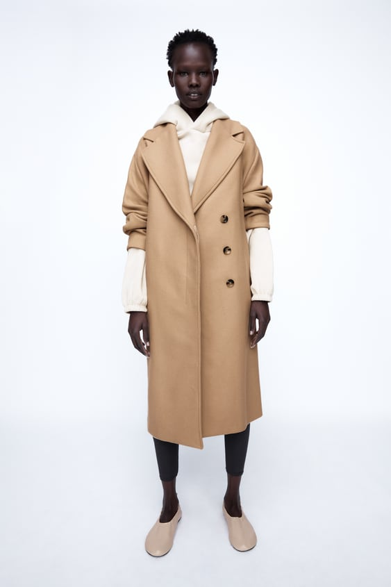 Zara BELTED WOOL BLEND COAT - Light Camel