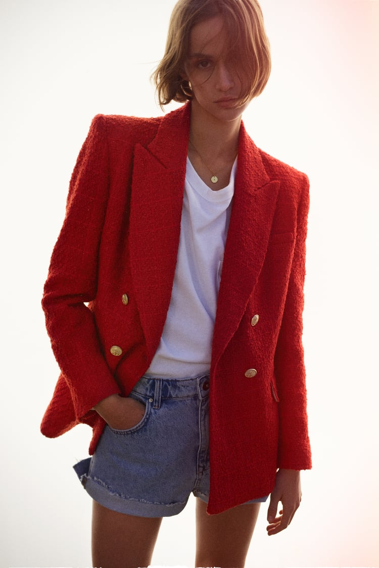 Image 0 of TEXTURED DOUBLE-BREASTED BLAZER from Zara