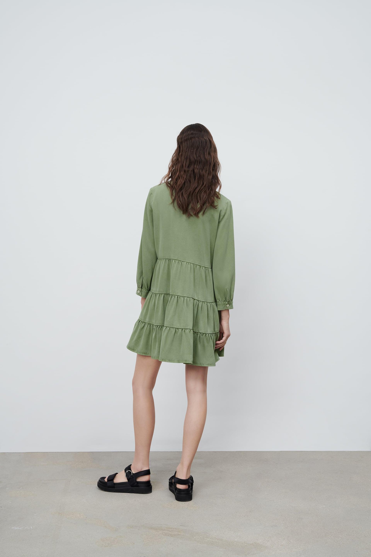 Details about  /zara Woman v neck long sleeve ruffle trims short dress XS