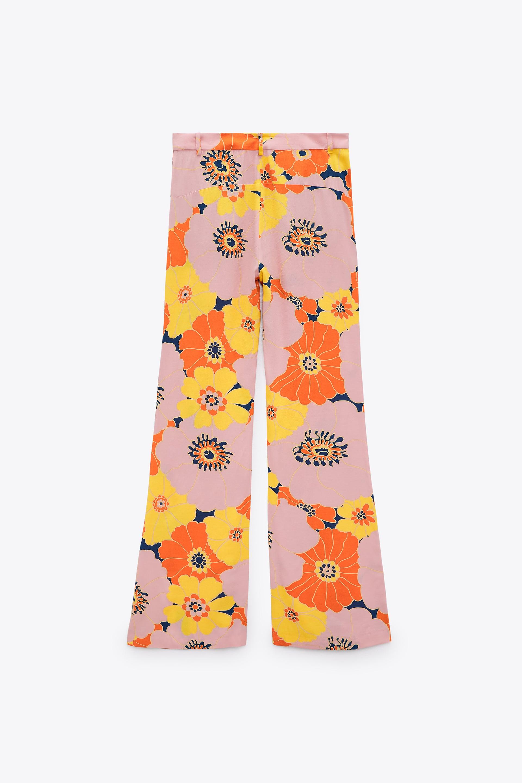 Zara Ecru Floral Side Printed Flared Trousers Pantalon Avec blumenprint Fleurs S M L