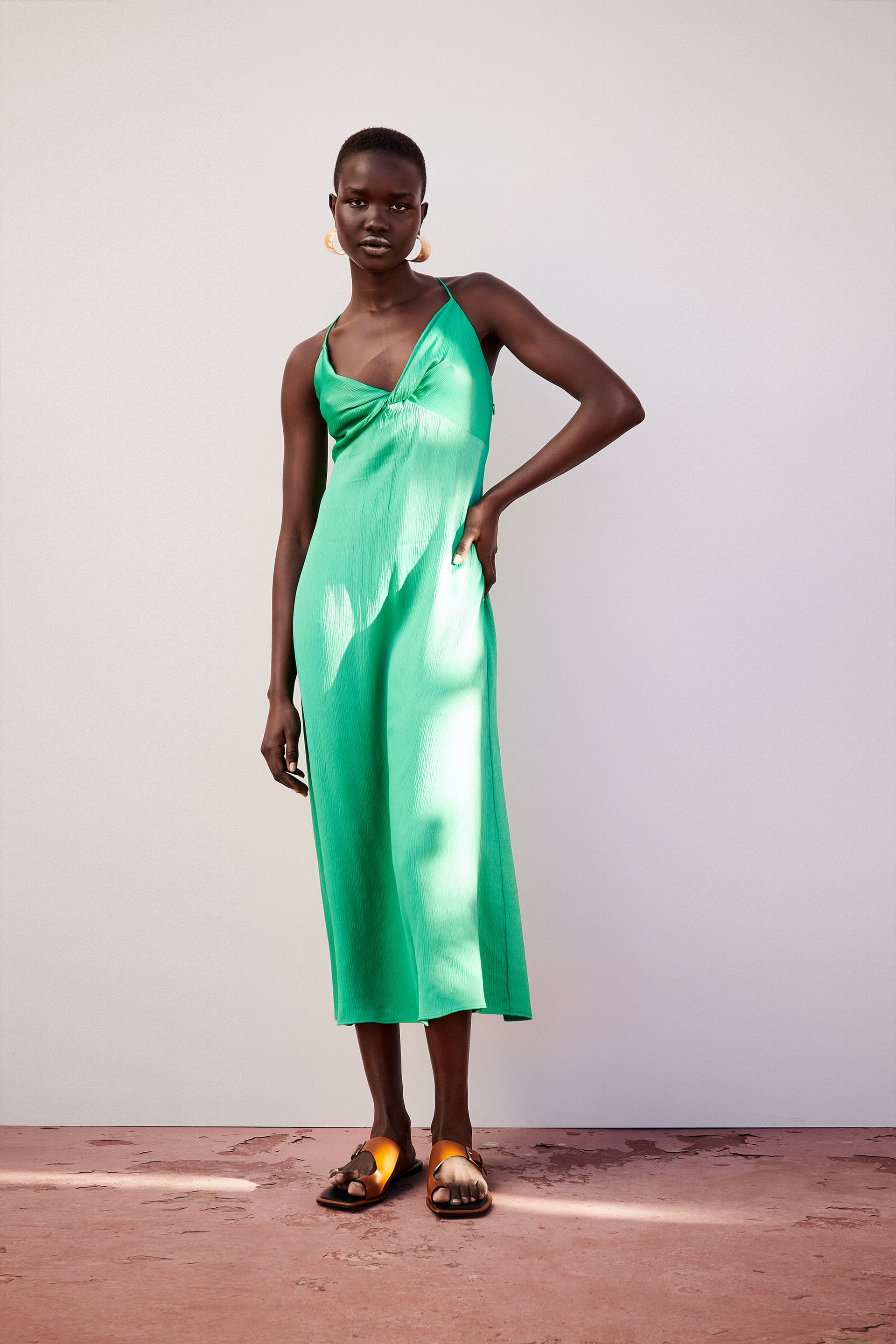 0264//205 ZARA WOMAN NWT SS20 FRONT KNOT LIME GREEN KNOTTED DRESS ALL SIZES REF