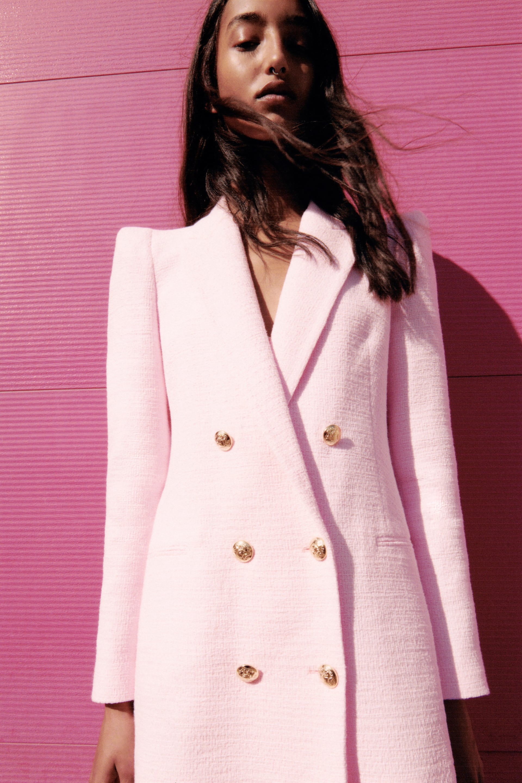 Zara Tweed Jacket With Gem Buttons Fray Detail Fantasy Blazer XL FITS LIKE M
