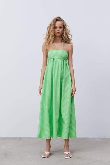 ZARA NEW GREEN FLOWING DRESS SIZE XS S L
