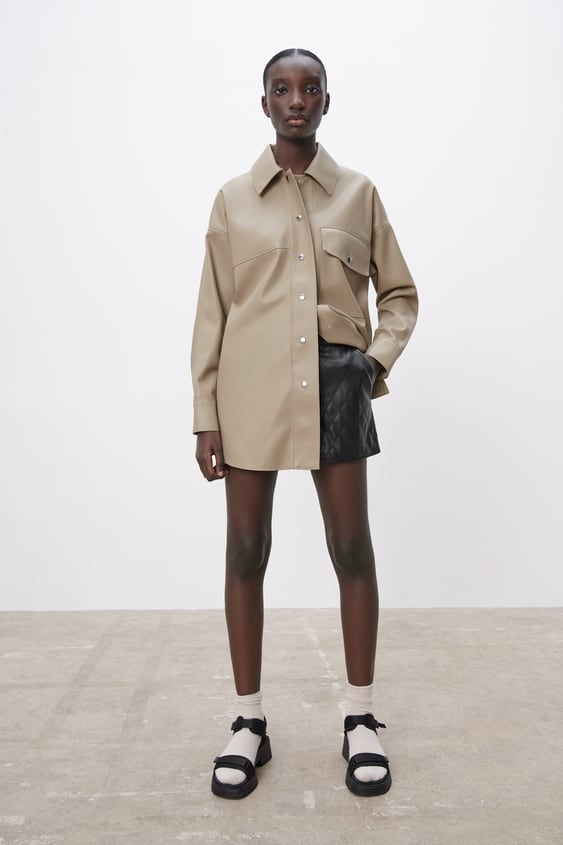 Image 7 of FAUX LEATHER OVERSHIRT from Zara