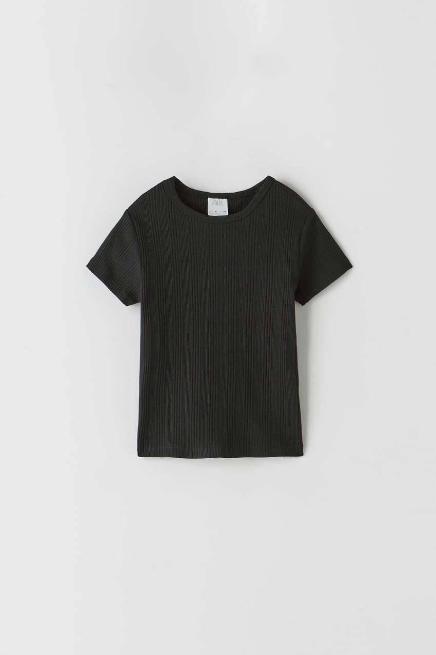Image 0 of PLAIN RIBBED T-SHIRT from Zara