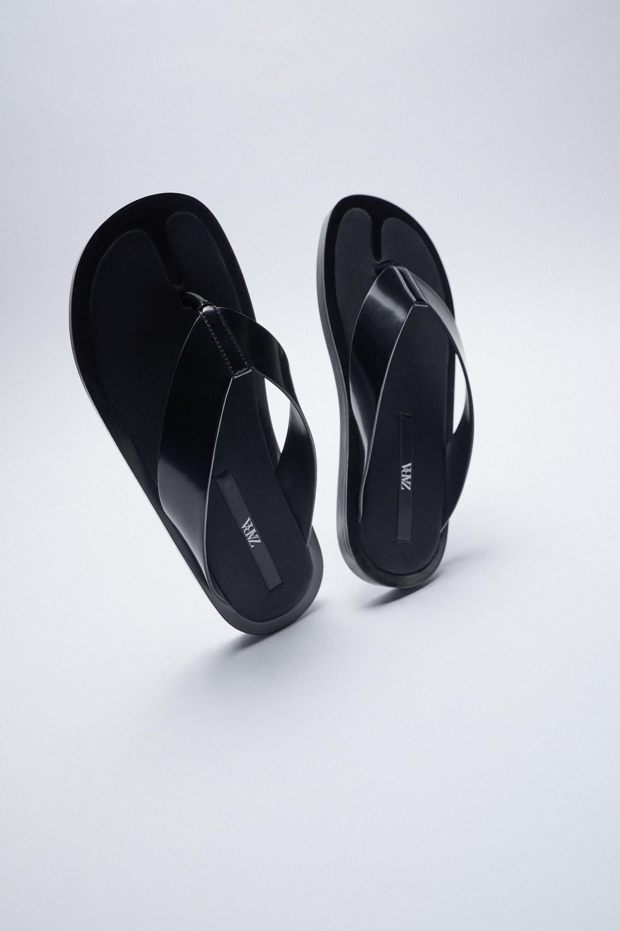 MINIMAL flatform FLAT SANDALS in black Zara