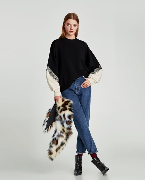 TWO-TONE SWEATER WITH LACE