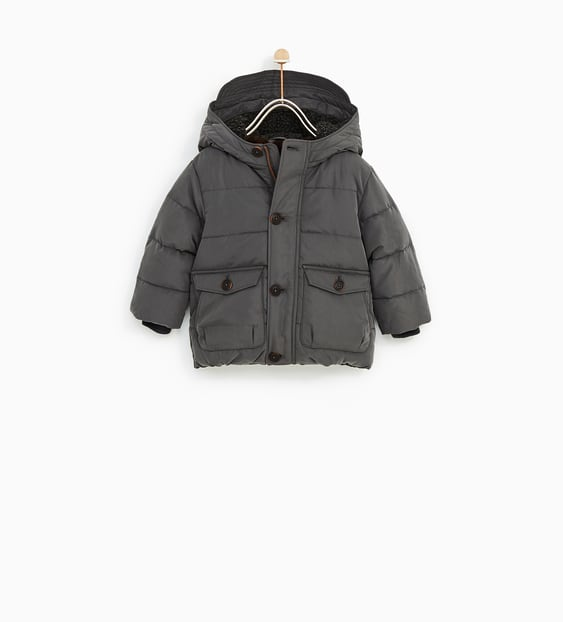 Faux Shearling Lined Puffer Jacket