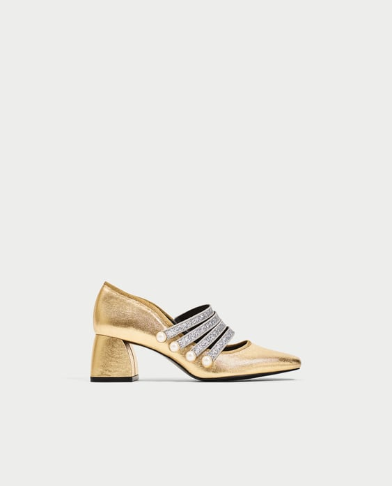 GOLD HIGH HEEL COURT SHOES WITH ANKLE STRAP