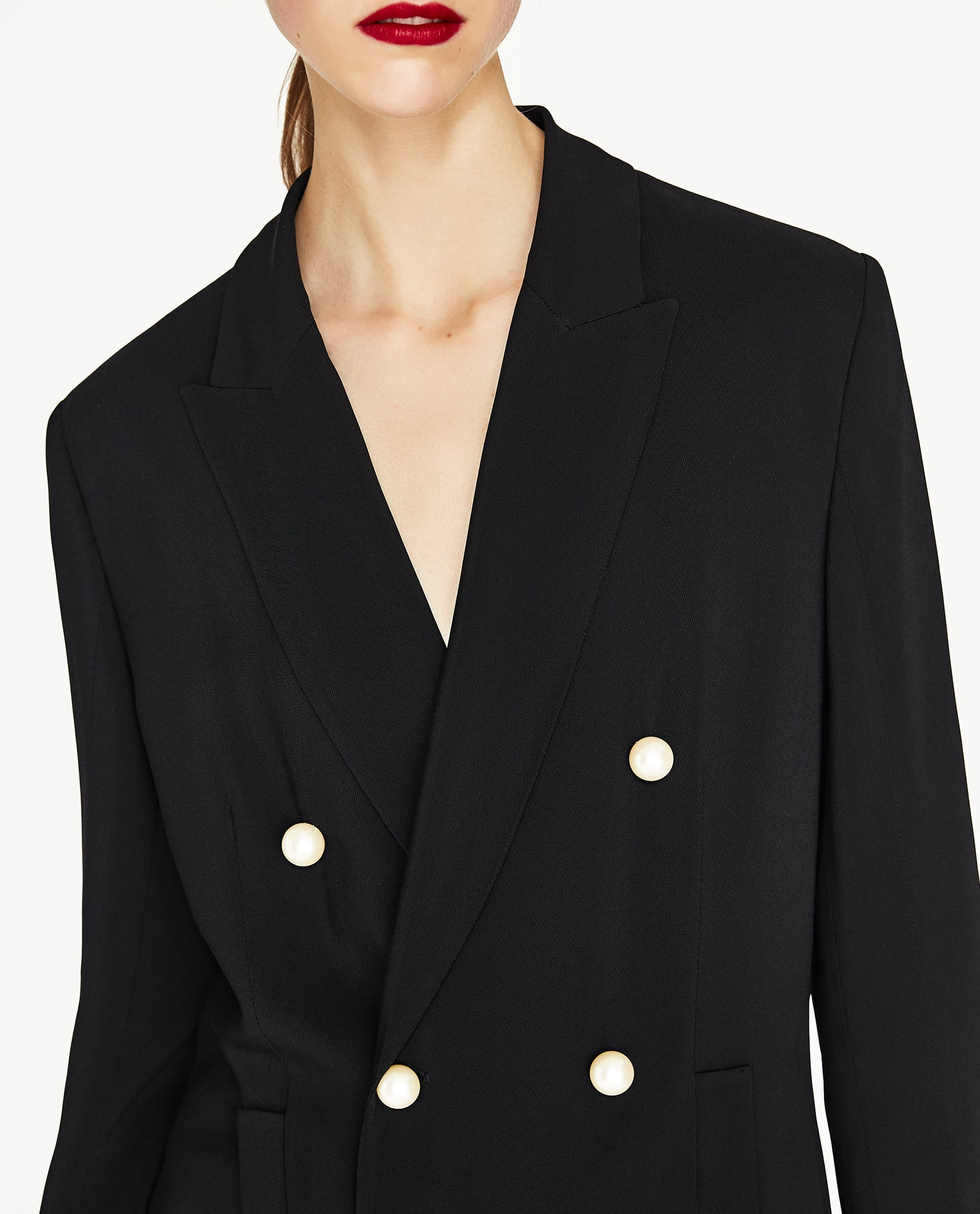 2626c40e DOUBLE BREASTED JACKET WITH PEARL BEADS