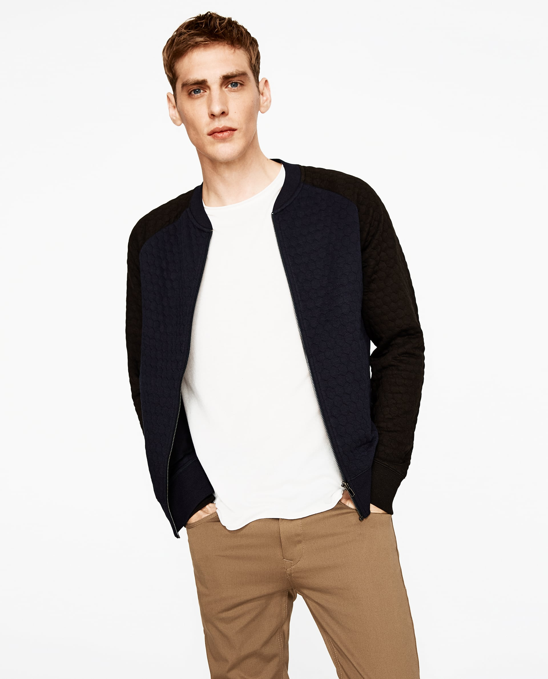 6eb46ca3b TWO-TONE QUILTED BOMBER JACKET