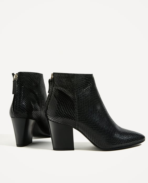 EMBOSSED LEATHER HIGH HEEL ANKLE BOOTS - SHOES-WOMAN | ZARA United