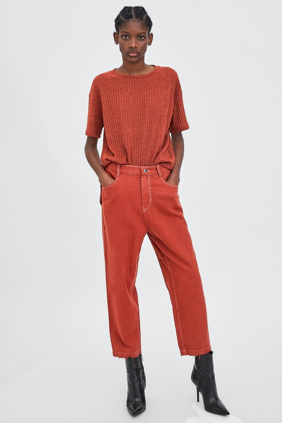 Flowing Topstitched Trousers  View All Jeans Trf by Zara