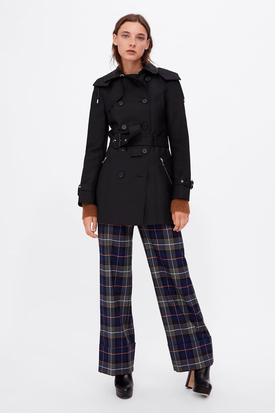 Hooded Trench  Black.Coats Woman by Zara