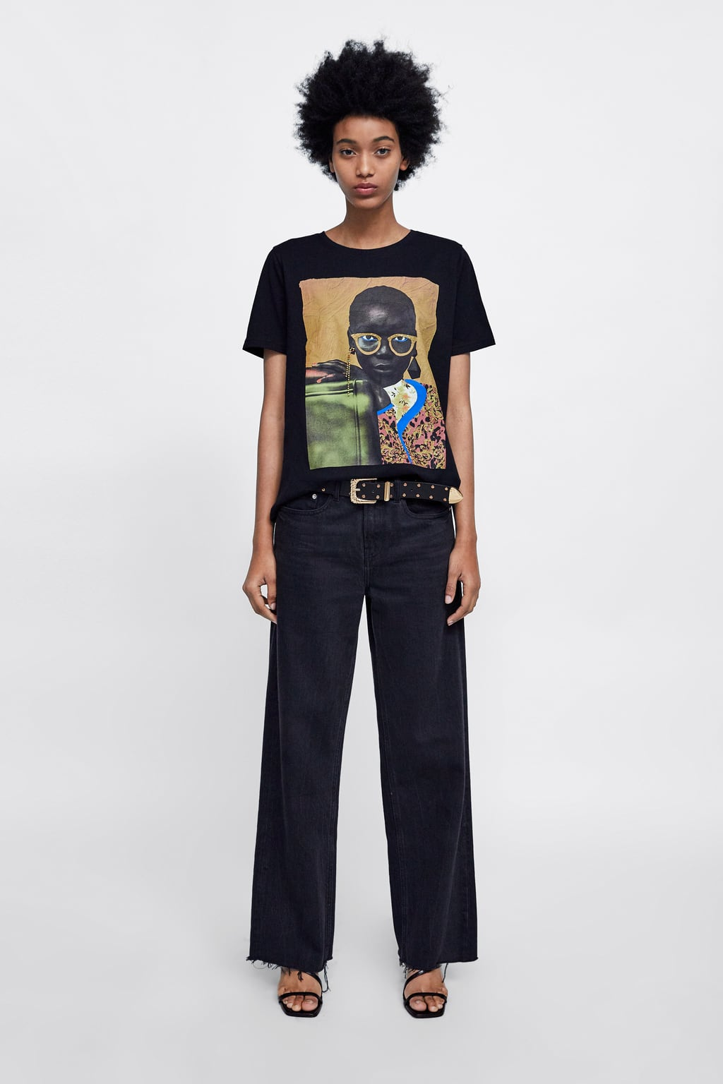 T  Shirt With Jewel AppliquÉview All T Shirts Woman by Zara