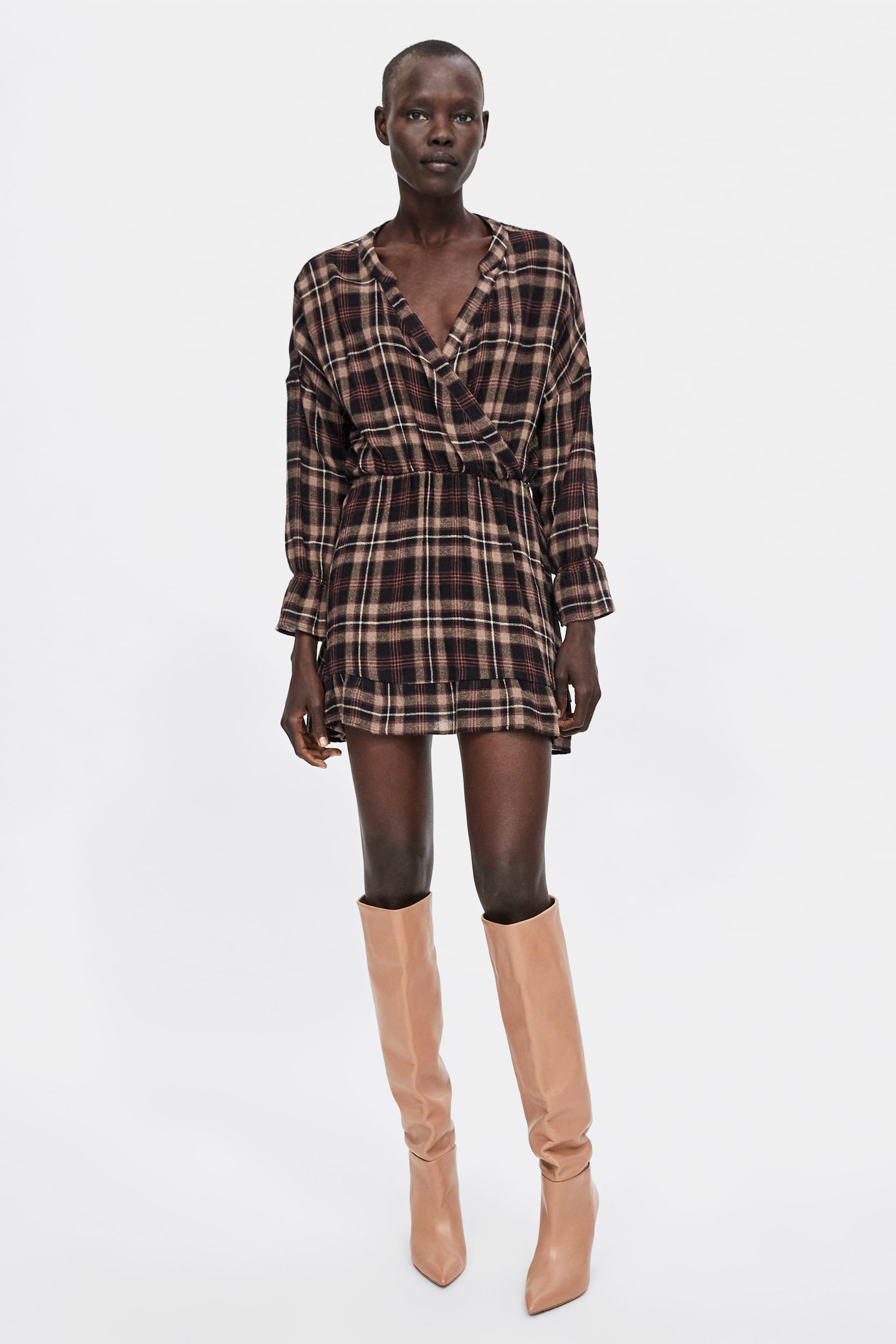 Checked Dress With Frill  Long Sleeve Dresses Woman by Zara