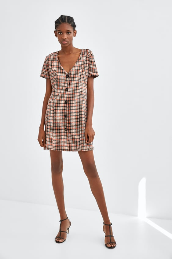 Short Dress With Buttons  Mini Dresses Woman by Zara