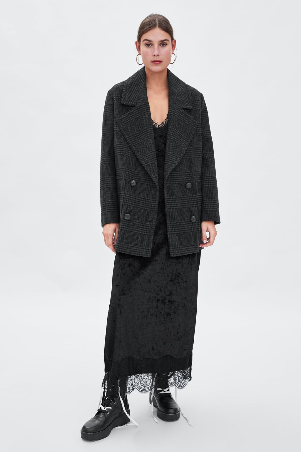 Image 1 of PLAID DOUBLE BREASTED OVERCOAT from Zara