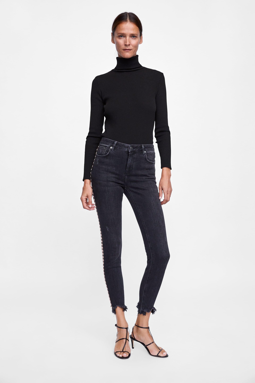 Jeans Zw Premium Skinny Embellishment  New Inwoman by Zara