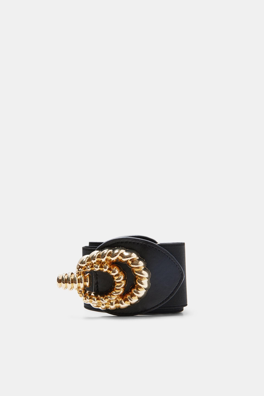 Elastic Belt With Golden Buckle  Belts Accessories Woman by Zara