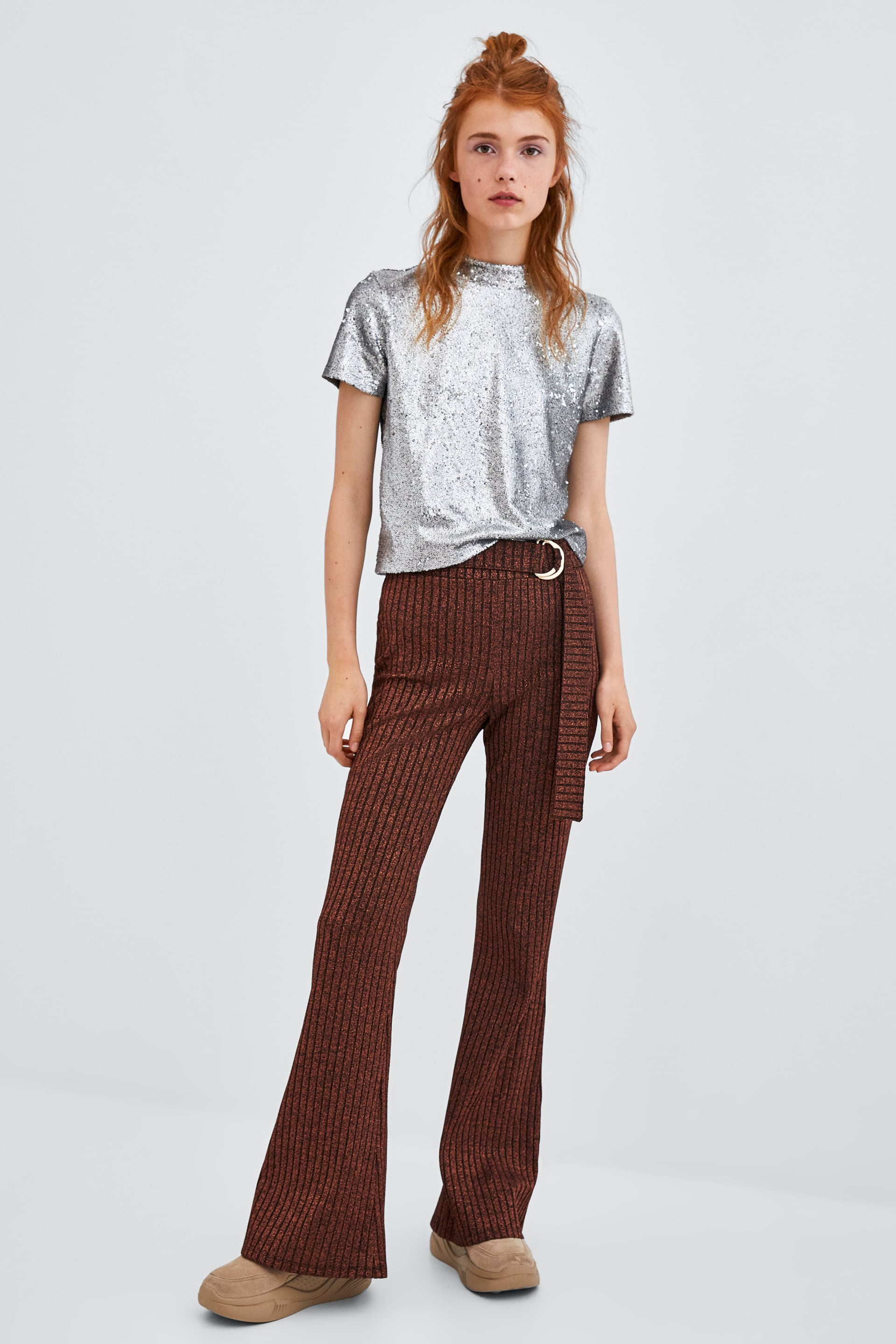 Shiny Buckled Pants  View All Pants Trf by Zara