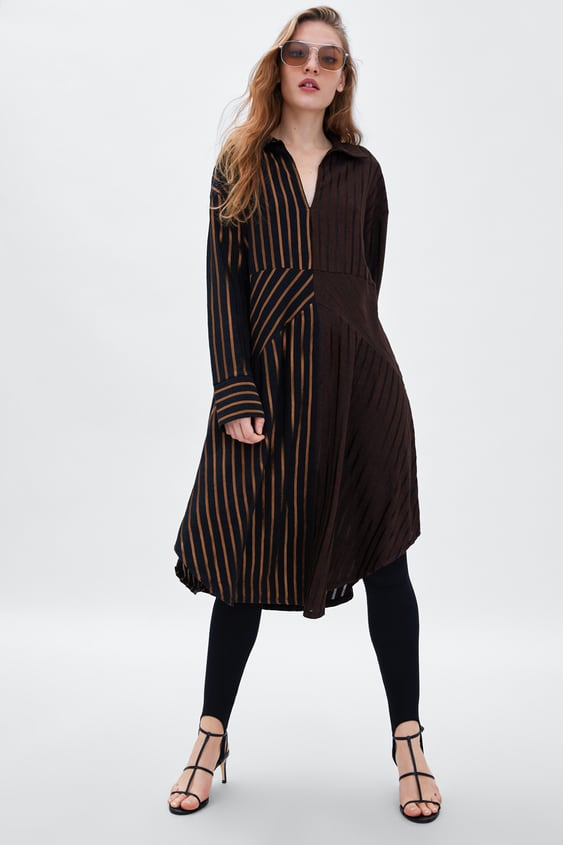 Striped Contrasting Dress  View All Dresses Woman by Zara