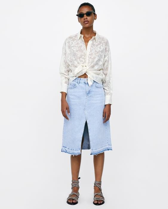 Camisa De Jacquard DevorÉ  Ver Tudo Camisas E Tops Mulher by Zara