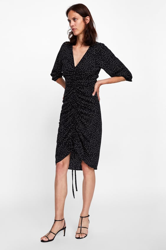 Robe À Pois DrapÉe  Manches Longues Robes Femme by Zara