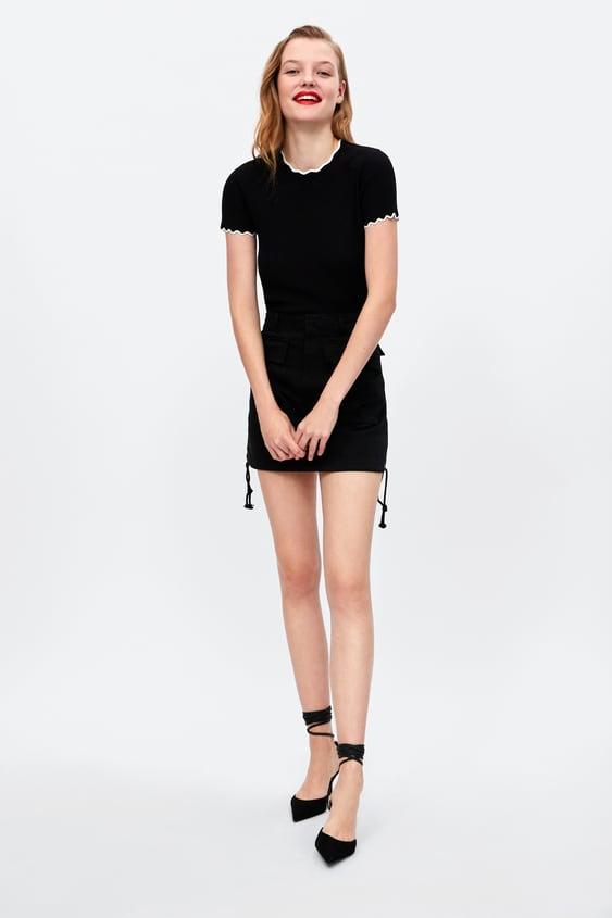 Trui Met Geschulpte Rand In Contrastkleur  Topsdames by Zara
