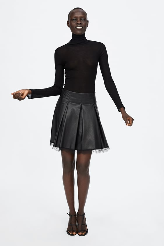 Faux Leather Pleated Skirt  New Inwoman by Zara