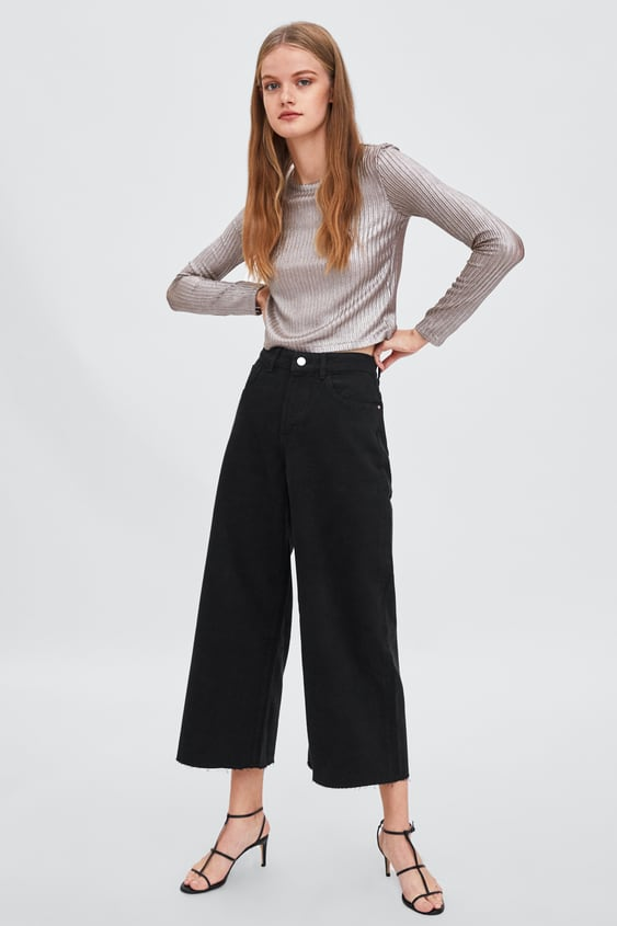 Sparkly Cropped Top  Long Sleeve T Shirts Trf by Zara