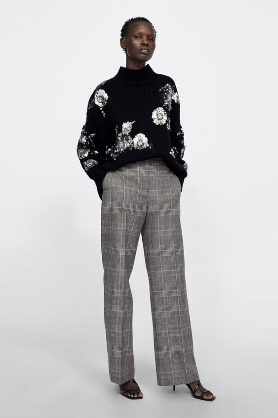 Checked Wide  Leg Trouserssuits Woman by Zara