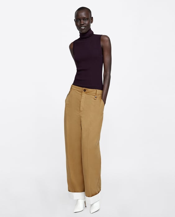 Pants With Contrasting Cuffs  New Inwoman Aw/18 by Zara