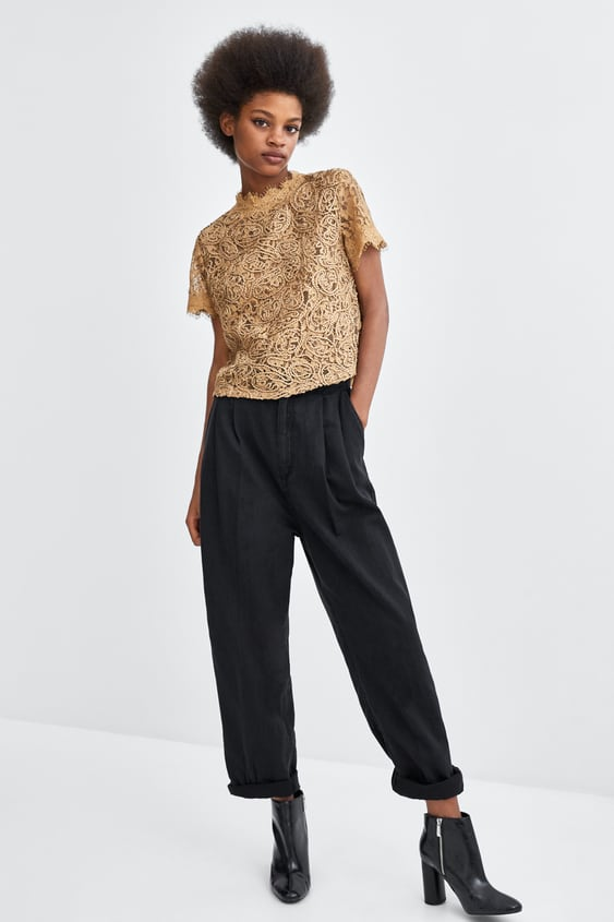 Lace Top With Cord  View All T Shirts Trf by Zara