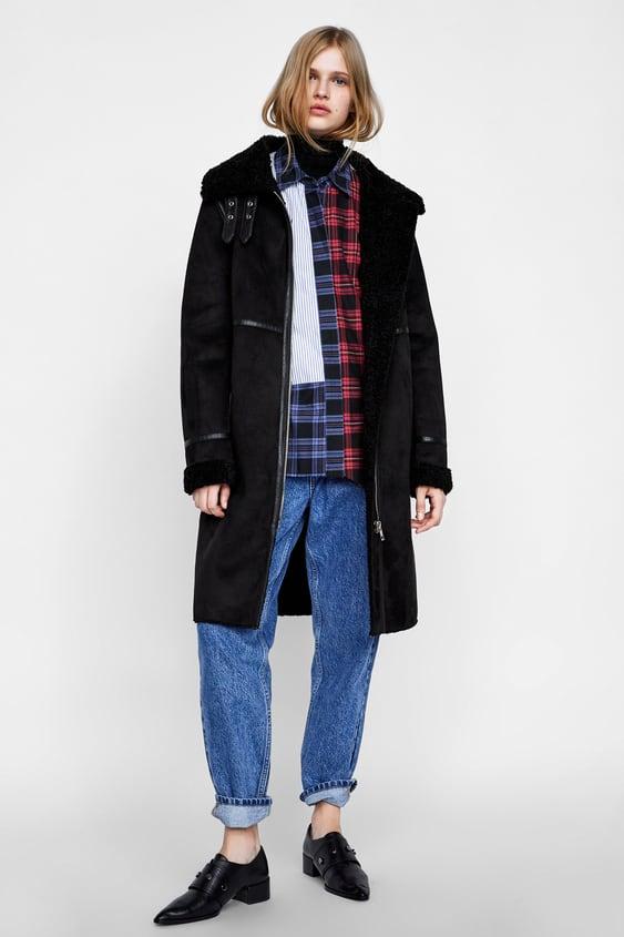 Long Faux Suede Coat  Coatswoman by Zara