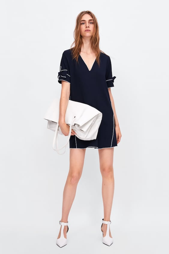 Dress With Contrasting Piping  Mini Dresses Woman by Zara