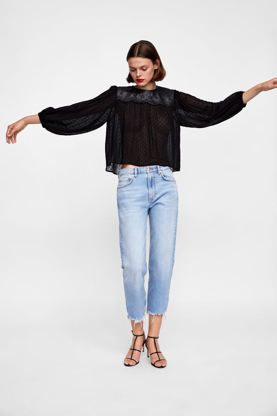 Contrasting Dotted Mesh Blouse  New Inwoman by Zara