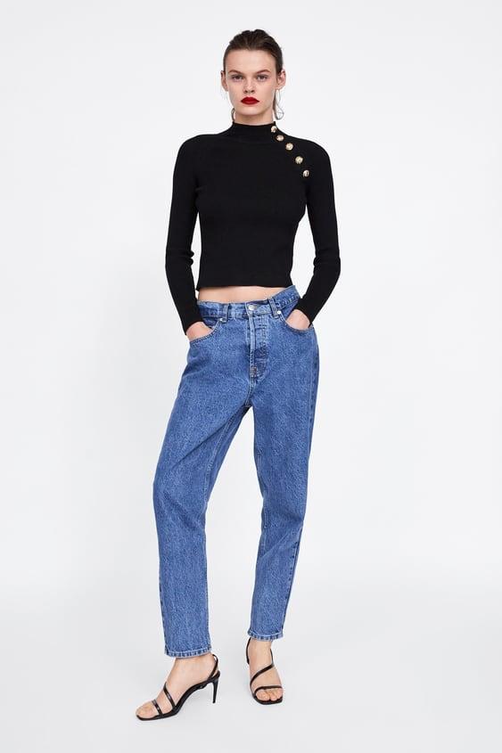 Sweater Canelado Com BotÕes  High Neck Malha Mulher by Zara