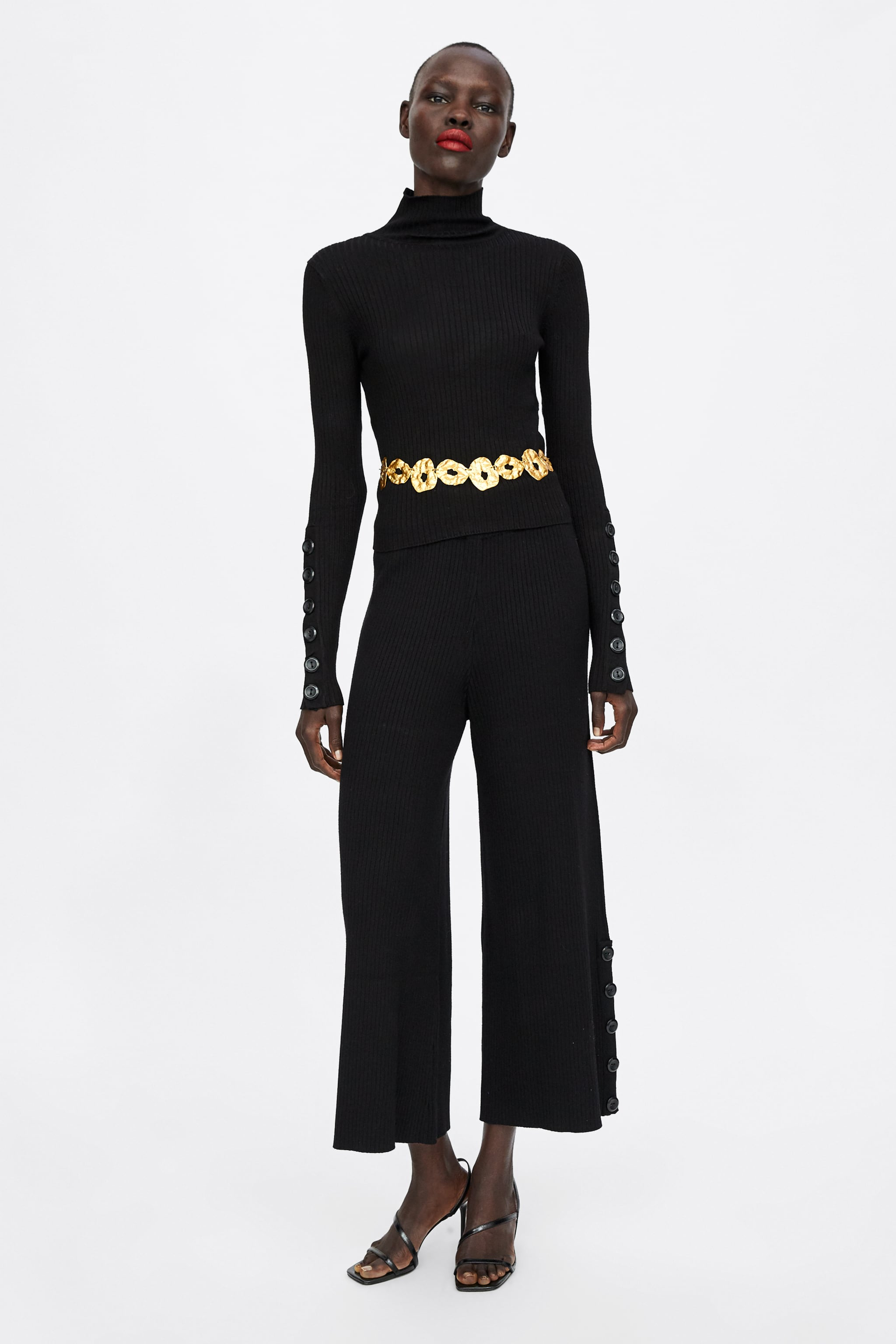 Zara TURTLENECK SWEATER WITH BUTTONS 567c9224d