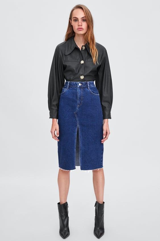 Suknja Od Trapera S Prorezom  Pregledajte Sve Suknje Žene by Zara