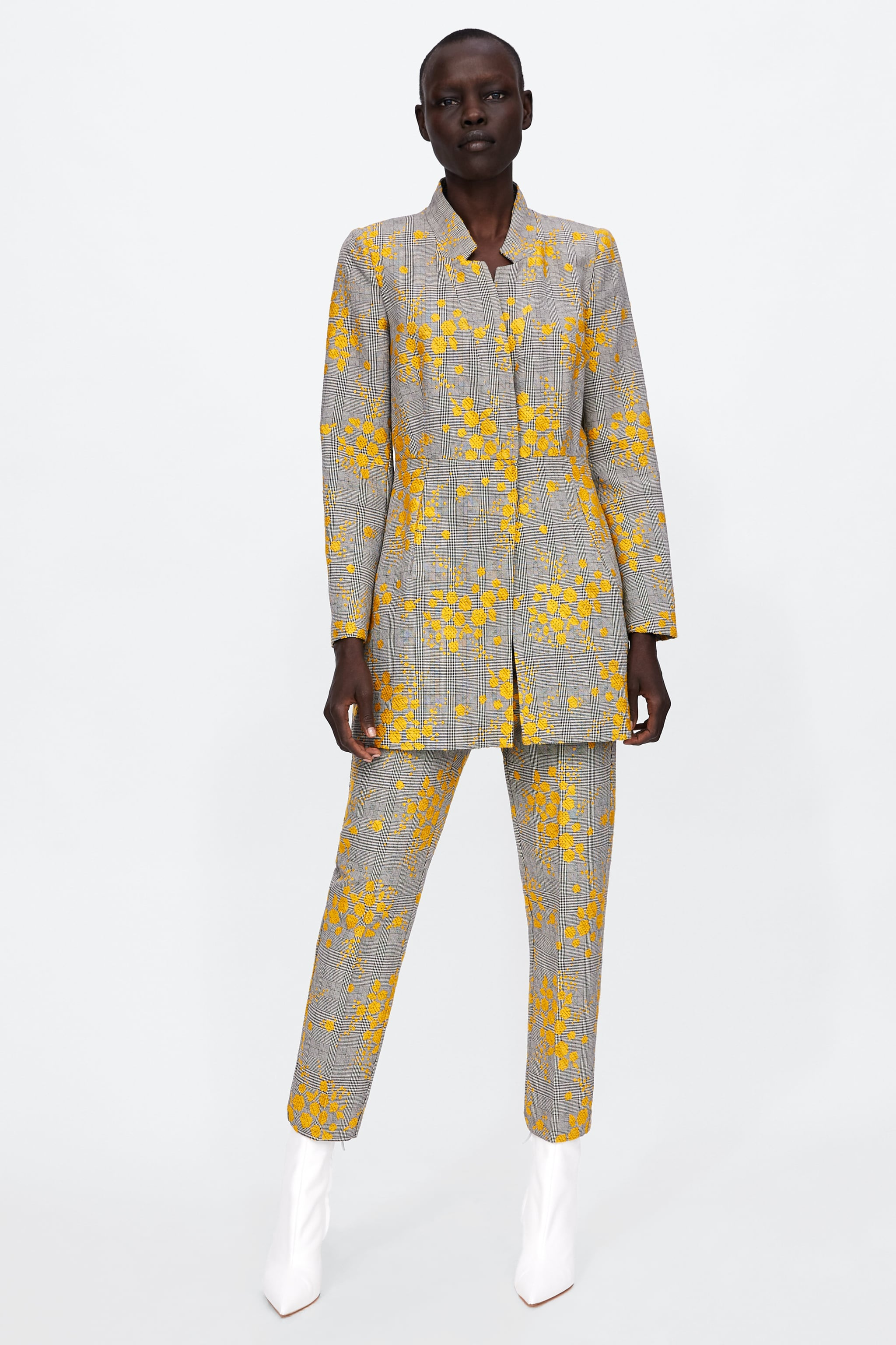 Zara JACQUARD FROCK COAT WITH INVERTED LAPEL