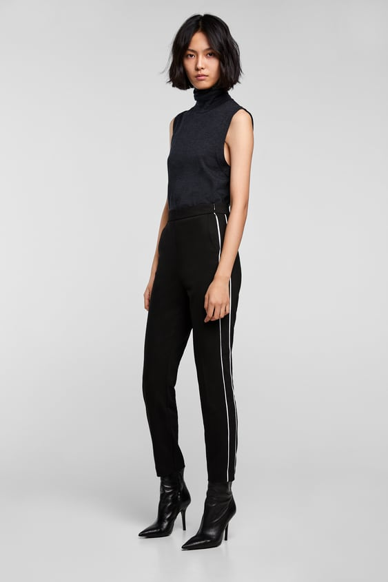 Cigarette Pants With Piping  Smart Pants Woman by Zara